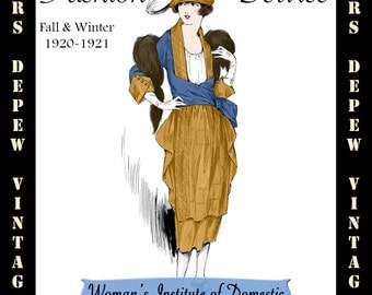 Vintage Sewing Book Fall Winter 1920-21 First Fashion Service Magazine Dressmaking Ebook Featuring Capes and Dresses -INSTANT DOWNLOAD-