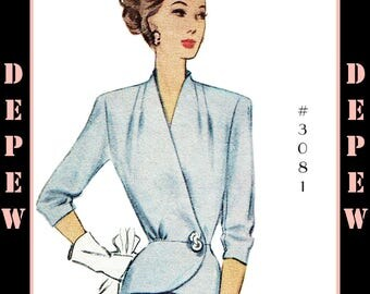 Vintage Sewing Pattern 1940's Ladies' Wrap Peplum Blouse 38 Bust #3081 -INSTANT DOWNLOAD-