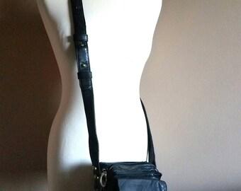 Black Leather DKNY Crossbody Mini Satchel