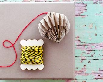 Wood Gift Spool Yellow Stripe Bakers Twine {3.0m} | 2 Colour Twine |  Fun Gift Wrapping | DIY Twine Supplies