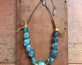 Chunky Turquoise Necklace // Leather Choker // Boho Jewelry // Southwestern // Festival Fashion // Raw Blue Stone // Handmade Gift for Her