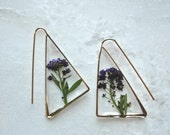 Purple Alyssum Earrings Pressed Flower Jewelry Botanical Jewelry Bridal Jewelry