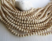 White round wood beads ,  beige  cream tone , small spacer ,  Philippines, boho Natural exotic 5-6mm ( 15 inches strand  ) 6PH31