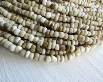 beige seed glass beads,  white cream beige ,  rustic, small spacer rondelle barrel tube organic Indonesian 1.5 to 4mm (44 inches) 5A2-2B