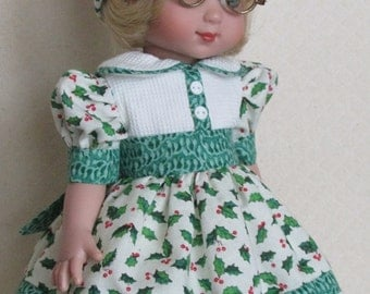 """For Ann Estelle and Her 10"""" Friends, Happy """"Holly-days"""" Dress and Hat"""