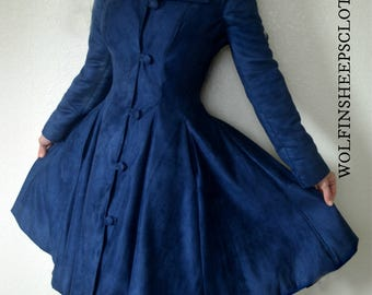 Navy Blue Suedecloth Dress Coat Womens