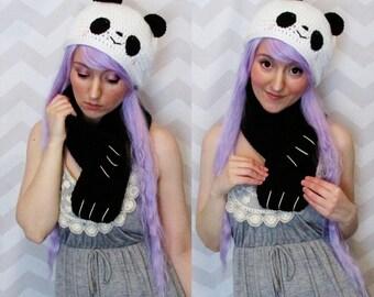Kawaii cute panda hat and scarf novelty