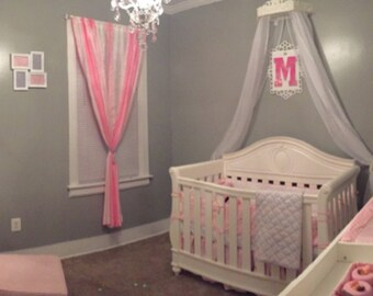 Bed Crown custom  with space for an initial, Crib Canopy