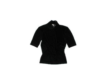 1990's BGBC Max Mara Black Velvet Mock Neck Short Sleeves Top