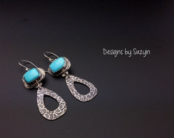 Sterling silver and Sleeping Beauty Turquoise dangle earrings