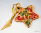Mini Star Ornament in Autumn Colors Polymer Clay Filigree