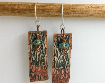 Copper and Nickel Silver Hammered Earrings