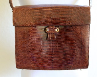 GORGEOUS 1980's Tegu Lizard handbag by Alfred Roth, Western Germany