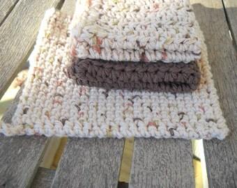 Cotton Crochet Potholder and Dishcloth (2)  Cotton  Hot Pad Thick Potholder