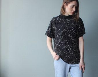 black polka dot top   black white short sleeve blouse   1990s small - medium
