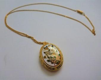 Cloisonne locket. enamel locket necklace. locket