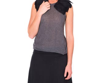 Women Soft Jersey knit Skirt with no print, Light weight summer skirt, knee length skirt in Black, Charcoal gray, Teal blue, Burnt Orange.