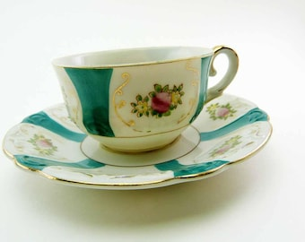 Vintage 1940s Eggshell Porcelain Demitasse Set UCAGCO Occupied Japan Tea Cup & Saucer Blue Green on White Pink Yellow Flower Bouquets