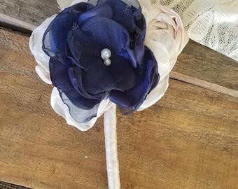 Navy Blue boutonniere, Fabric Boutonniere , groomsmen, lapel flower,  alternative boutonniere, button hole flower, grooms accessory