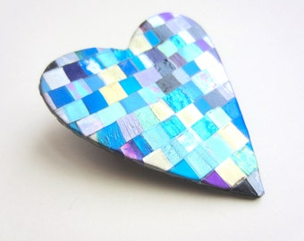 Heart Pin Booch in quilt mosaic pattern in blues, gold, green, purple, silver