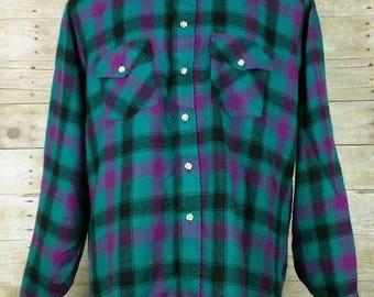 Vintage Teal Green Purple Black Plaid Flannel Shirt Mens L