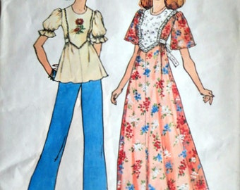Vintage 70's Simplicity 6931  Sewing Pattern, Misses' Maxi Dress Or Top, Size 12-14, 34-36 Bust, Retro Boho 1970's Fashion