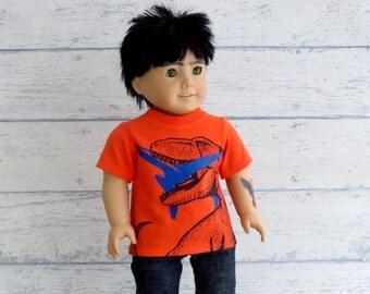 Rex Tee - Boy Doll Clothes Dinosaur T Shirt, American Boy Doll Tee Shirt, 18 inch Doll Clothes