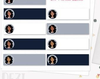 Woman character address labels, printable diy address sticker set with dark skin tones (Dezi LL26)