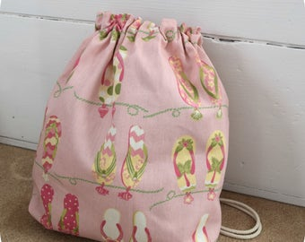 Drawstring Beach Bag, Travel Bag, Knitting Bag, Project Bag, Shower Gift Bag, Fabric Gift Bag,