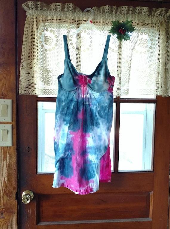 Blue and Fuschia Shibori Tie-Dye Womens Tank Mini Dress - Size M