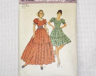 1970s Vintage Western Dress Pattern 32 1/2 Inch Bust Simplicity 6452