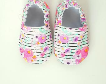 Baby Shoes, Baby Moccasins, Childrens Indoor Shoes, Neon Blooms