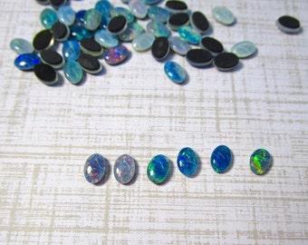 Natural Opal Cabochon Triplet 4mm x 6mm, QTY1, Oval Australian Gemstone  Color Play,Lighting Ridge