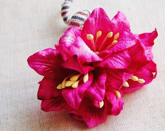 Raspberry Pink Lilly Millinery flower Corsage Pin -wedding corsage boutonniere, paper jewelry, decoration, embellishment