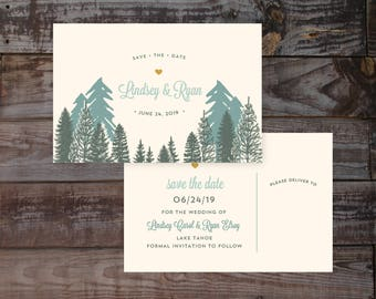 Wedding save the date, save the dates, mountain save the dates, rustic save the dates, save the date postcard, outdoorsy wedding, invitation