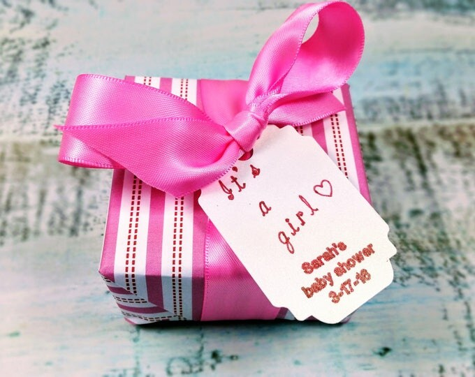 """It's a girl"" baby shower favor"