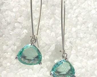 Ocean Green Crystal Dangle Earrings, Glass Dangle Earrings, Faceted Glass Earrings, Best Seller