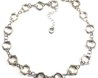 Chain Link Necklace Flat Hex Nuts Hardware Jewelry