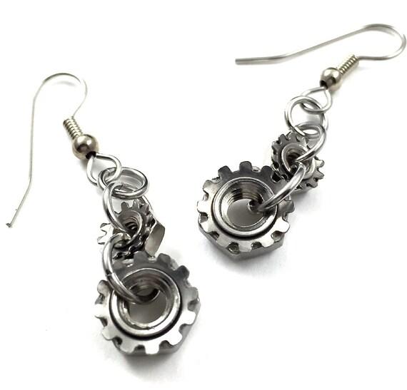 Steampunk Drop Earrings Dangle Earrings Hardware Jewelry Industrial Lock Nuts