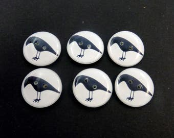 6 Handmade Primitive Crow Sewing Buttons.