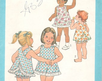 Simplicity 9513 8165 1970s Toddlers Jiffy Criss Cross Dress Bloomers Pattern Girls Vintage Sewing Pattern Size 3 UNCUT