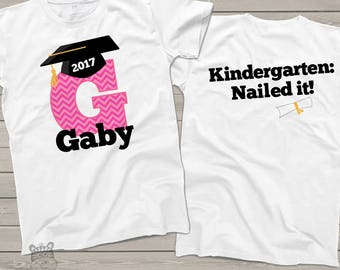 Graduation shirt - girl graduation shirt with chevron initial and grad cap front and back personalized graduation Tshirt  mscl-038