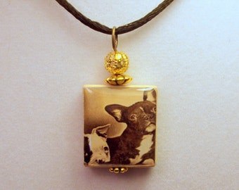 French Bulldog Puppy Necklace / Frenchie Scrabble Pendant / Charm / Unusual Gifts