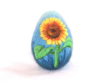 Easter Egg, Needle Felted Easter Egg -  Blue Needlefelt Egg - Sunflower -Yellow - Felt Flowers - Easter Decor - Easter Gift