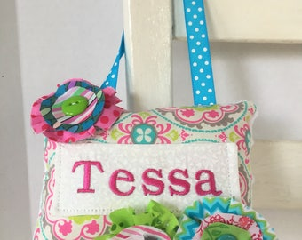 Personalized Embellished Tooth Fairy Pillow Girls Birthday Gift Children Girlie Room Docor OOAK Multicolored