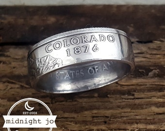 Colorado Coin Ring 90% Silver Quarter Coin Ring Double Sided Coin Ring