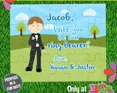 """Be My Ring Bearer Puzzle - Personalized Ring Bearer Announcement Puzzle - Personalized 8"""" x 10"""" Puzzle - Custom Ring Bearer Proposal Puzzle"""