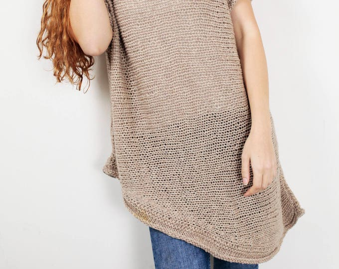 Hand Knit oversize sweater Long wool Drop shoulder sweater asymmetrical WHEAT pullover