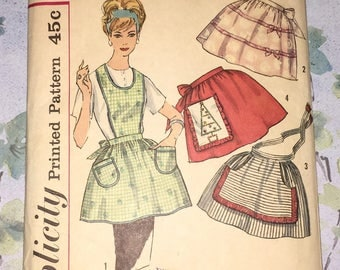 Simplicty 4213 Apron Full Half One Yard Vintage 1960s Sewing Pattern One Size UNCUT