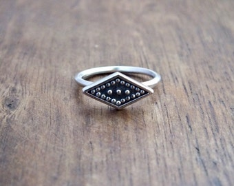 Geometria ring - Art Deco diamond ring - geometric rhombus ring - tribal studded ring - diamond shape ring